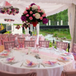 The Pink wedding tables in outdoor restaurant