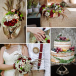 collage of wedding photos. Decor and bouquet and accessories.